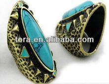 2013 Fashion Vintage Bronze turquoise ring new design ladies finger ring turquoise engagement ring