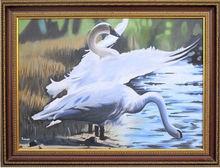 Beautifu framed swan painting on canvas