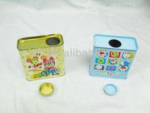 Rectangular candy tin box with round insert lid