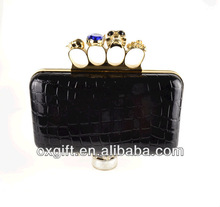 Spring and summer the retro evening bags / Skull Ring Clutch / Crocodile handbags / shoulder chain