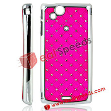 2012 New Arrival Starry Sky Diamond Padded Electroplating Phone Case for Sony Ericsson Xperia Arc X12 ,Hot Pink