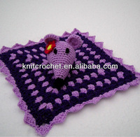 China Direct Factory 100% hand made crocheted baby security blanket with Hand Crochet Rattle Mouse Toy (KCC-HCB0021)