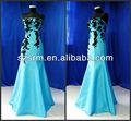 strapless 2013 gelo azul preto laço sereia imagem real do vestido de noite