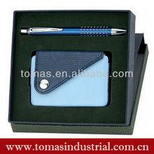 Custom design decorative business card holder and pen gift set