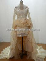 2013 real sample long sleeve short front long back prom dress