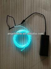 high brightness 2.3mm 3m EL hard wire transparent-green color with DC3V battery inverter