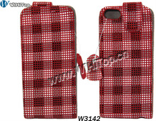 Red Color For iPhone 5 Genuine Leather Flip Case with Plaid Strips Fashion Design