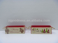 GOOD SALE 19''L X'mas Wooden Box with Jute Handle