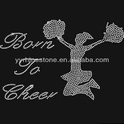 Born To Cheer Wholesale Rhinestone Heat Transfers Iron On Design