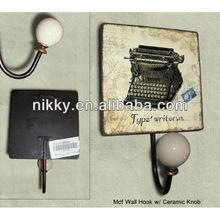 Old fashion white metal wall hanging hooks,wholesale cast iron coat hooks