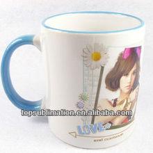 """Sublimation 11oz Inner Rim Color Mug--Grade """"A+"""" quality --11oz,D8.2cm*H9.5cm"""