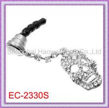 2013 Valentine's Art Gft!! EC-2330S Phone Dust Plug with Skull Pendant Style Rhinestone Charm Work On All (3.5mm) Headphone Jack