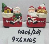 Christmas ornament santa and snowman figurine