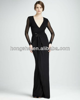 ladies Jersey Wrapped Gown fall-winter high-end sexy celebrity dress design/High quality HGS916