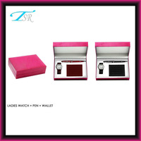 PU wallet set (watch+pen+wallet) with nice packing in charming box as luxury gift
