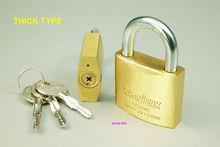Brass Padlock with Crossed Key
