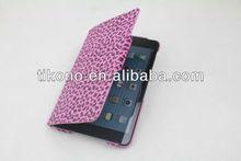 Leopard design book pu leather case for ipad mini