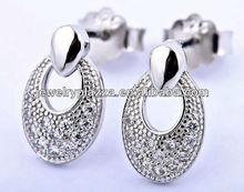 2012 vintage design silver diamond earrings ,silver jewelry ED054
