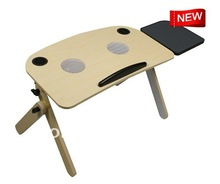 MDF laptop notebook stand for bed with Individual mouse pad and 2 cooling fans, with 2.0 double speakers