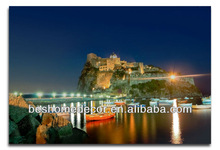 Ischia island in Italy painting stand, canvas art painting for livingroom, seascape paintings with boats
