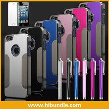 Luxury Brushed Aluminum Chrome Hard Case For iPhone 5 5G 6th+Stylus+Film