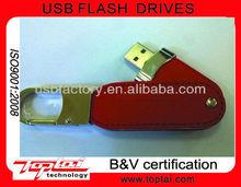 leather swivel red 2gb usb flash memory with custom logo