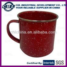 Red enamel mug with white dot