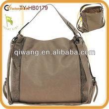 Spacious cowhide leather handbag with rhinestones on both sides