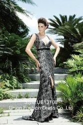 UE13108 Sexy Wide strap design plus sexy deep v-neckline and backline design black sash floor length evening dress