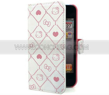 Lovely hello kitty pu leather case for iPhone 4s