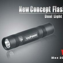 New concept Flashlight Dual light sources Max 200Lumens