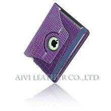 purple crocodile leather case for ipad,custom embossed for ipad case