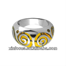 Size 8 - Inox Jewelry Yellow Resin Swirl 316L Stainless Steel Ring body jewelry finger ring
