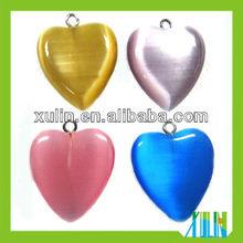 many color hear shaped flat back glass cat's eye beads fit pendants