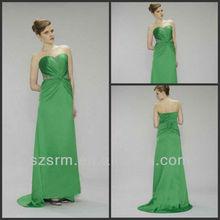 Newest Sleeveless Chiffon A-line Beaded Pleated Evening Dress