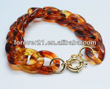 LDB0591 Bulk Wholesale 7'' Length Circle Acrylic/Lucite Flat Chain Link Bracelets With Gold-Plated Circle Lobster Clasps