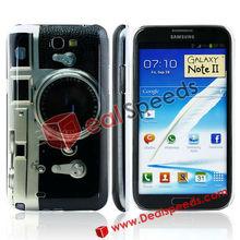 Metal Clock PC Phone Skin Case for Galaxy Note II N7100(Dark+White)