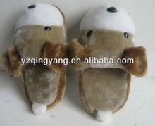 Plush animal indoor slippers featuring dog