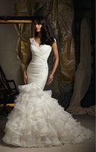 2013 Elegant cap sleeve mermaid tail wedding dress bridal gown