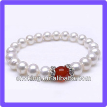 Diamond-inlaid Silver Accessory White Pearl Best Selling Bracelet With A Red Bead