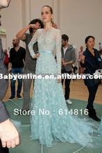 Elie Saab Dresses For Sale Elegant A Line Scoop Applique Light Blue Long Sleeve Evening Dress NE14