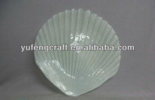glass pearl gray seashell dish