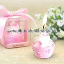 High quality pink flower cupcake candle favors