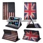 New British UK Flag leather skin with stand retro for ipad 2 3 case