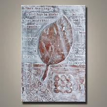 handmade tree leaf canvas painting