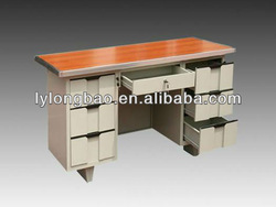 Steel office furniture desk with wooden top and steel cabinet