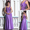 DORISQUEEN new arrival a line floor length purple chiffon dress