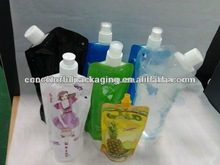 Hot sale 2013 whole sale new style spout transparent printing pouch juice packaging bags