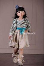 Nova chegada! 2013 design de moda crianças menina dot verde de veludo vestido