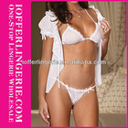 Wholesale white sexy lingerie set open sex lady